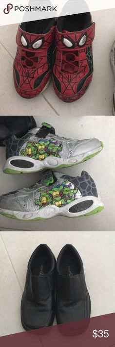 Bundle of 3 pair of shoes for boys Spider-Man light up shoes size 12, ninja turtle light up shoes size 12 and black dressy shoes size 11.5 Shoes Dress Shoes