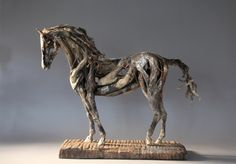 driftwood and copper tabletop horse sculpture by Heather Jansch