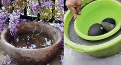 Un grand pot rond en béton pour mon jardin