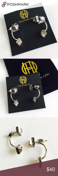 """House of Harlow 1960 Silver Ear Jackets. These trendy Lyra Ear Jacket earrings are the perfect addition to your jewelry collection and everyday look. Details: 1"""" L approx post backs. Available in gold. Comes with HOH velvet pouch. Last pair! House of Harlow 1960 Jewelry Earrings"""