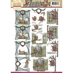 3D A4 Knipvel Yvonne Creations - Traditional Christmas - Raampjes CD10694