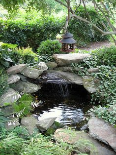 Pond idea for the front corner of our landscape.--Always remember when building.. the waterfall.. to make it overhang a bunch..to make an echo.. in the pond
