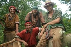 A group of interpreters in the role of voyageurs, Fort William.