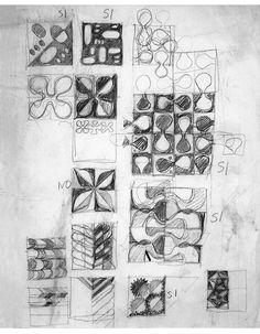 design-is-fine:  Gio Ponti, tile design for l'Hotel Parco dei Principi, 1960-61. Originally made byD'Agostino, Salerno.Re-edition by La Riggiola.  More to see here about the exhibition The World of Gio Ponti, Japan, 2014. Design Drawing © Gio Ponti Estate