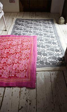 plümo - fair-trade hand-felted wool rug:  grey + cream