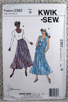 Kwik Sew 2382, Misses' Skirt and Vest Sewing Pattern, Flared Pull-on Skirt Pattern, Misses' Vest Pattern, Misses Size XS - XL, Uncut by Allyssecondattic on Etsy
