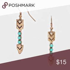 """Coming soon!!! The tribal arrow drop earrings measures 1/4"""" by 2"""" L and have a fish hook back. Made of brass and copper alloy. Lead and nickel compliant. Smoke free, cat friendly. Photo courtesy of Farah Jewelry. Farah Jewelry Jewelry Earrings"""