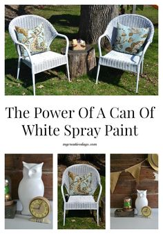 It is amazing what a can of white spray paint can do to transform a piece! Search for great pieces at yard sales and thrift stores and if you don't like the color, paint it! The Power Of A Can Of White Spray Paint from mycreativedays.com.
