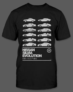"""The design says it all. One example from every generation of Nissan Silvia drawn expertly by our friends at hive design. Buy the poster from <a href=""""http://on.fb.me/WVmHoF"""">their facebook page</a>! This shirt is offered in black and only in a limited number. A Medium sized shirt is depic..."""