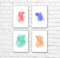 Peppa Pig Watercolor Wall Art Poster Set    This set of four minimalist watercolor posters is printed using high quality archival inks on