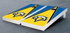 Our Morehead State University Eagles Cornhole Game Set Triangle Version. Get your custom set at victorytailgate.com