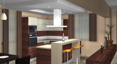 Kitchen Cozy Design Soft Brown Painting Wall Modern Bar Stools Idea Beside Island Dark Wooden Cabinet Awesome Space Wooden Cabinets, White Kitchen Cabinets, 3d Design, Dining Table In Kitchen, Kitchen Decor, Modern Bar Stools, Modern Kitchen Design, Kitchen Flooring, Kitchen Remodel