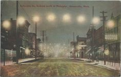 https://flic.kr/p/yu8bnd | SW Greenville MI 1910 Beautiful Downtown Lafayette Street NORTH Night view Downtown Center of Downtown Area DIrt Streets Horse & Buggy Days back in the day 1911 Kent City Postmark
