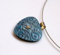 Denim blue and silver textured hand made polymer clay pendant by OrlyFuchsGalchen