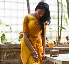 Yellow embroidered sheer blouse.Design you own now on houseofblouse.com #saree #blouse #sareeblouse #blousedesigns #desi #indianfashion #india #yellow