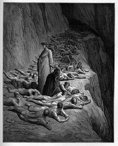 Purgatory: Dante with Pope Adrian V. Creator: Doré, Gustave Date: c.1868