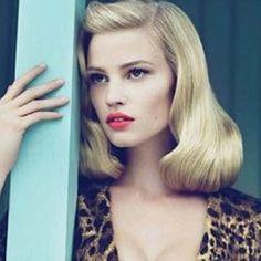 Lara Stone retro glamour for Vogue