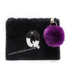Personalized Genuine Wool Fur handbag Classic Women Zip Top clutch Purse Bolsa with Genuine fur Ball key chain