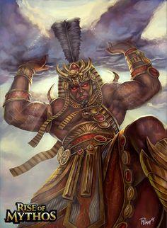 Shu Deus do ar que separano céu e a terra, seus filhos com Tefnut, a umidade, que eram respectivamente Nut e Geb