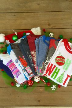 NEW 2/$15 ATX MAFIA Original Christmas Designs! We'll send you TWO of our favorite original Christmas styles ranging from short sleeve, slouchy, or long sleeve. The style of shirts are selected at ran