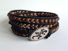 Triple Wrap Wooden Bead Leather Wrap Bracelet
