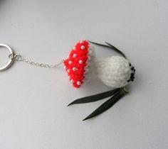 Crochet Keychain Bag Charm Toadstool Red by CraftsbySigita on Etsy