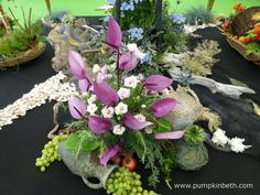 This attractive arrangement of Anthurium and grapes was created by Jean Warren from Aldershot Floral Design Club.  This pretty floral and fruit arrangement formed part of a larger exhibit created by the Aldershot Floral Design Club, to publicise the NAFAS Festive Flower and Food Show, which is held in Blackpool in November 2017.  This lovely photograph was taken by Janet Arm. Rhs Hampton Court, Fruit Arrangements, Food Shows, Blackpool, Flower Show, Cut Flowers, Exhibit, The Hamptons, Palace