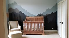like this mural.  crib here: http://www.toysrus.com/buy/convertible-cribs/bertini-pembrooke-4-in-1-convertible-crib-natural-rustic-br1302b4n-28702356