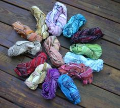 Individual Hanks of Stitched Up: Sewn Reclaimed Silk Ribbon by Darn Good Yarn | The Best Yarn Store!