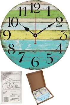 "12"" Large Indoor/Outdoor Wooden Decorative Vintage Wall Clock Colorful Stripes #Grazing"