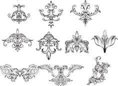 Antique decorative elements set vector