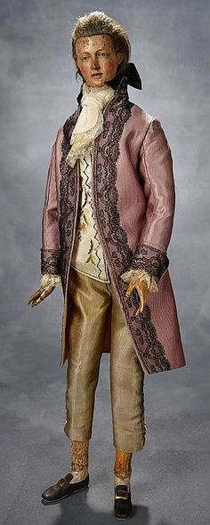 Late 18th Century Carved Wooden Gentleman Doll with Fully-Articulated Wooden Body.