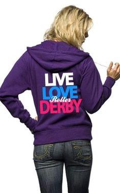 Amazon.com: Live Love Roller Derby Full Zip Hoodie: Clothing