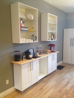 Coffee Bar Progress… – Short-term Loans Made Easy Kitchen Cabinets Cover, Ikea Wall Cabinets, Kitchen Bar Counter, Coffee Bars In Kitchen, Custom Kitchen Cabinets, Upper Cabinets, Base Cabinets, Diy Cabinets, Low Cabinet