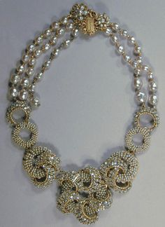 Miriam Haskell Necklace -  Curved rhinestone and pearl folding into flowers (doyle)