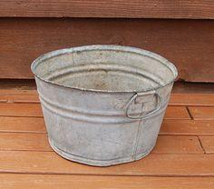 Galvanized Planter Tub Vintage Round by PineSpringsCottage on Etsy