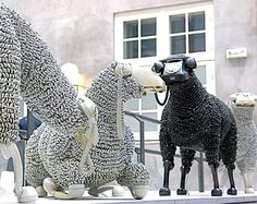 sheep constructed from rotary phones.