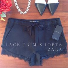 "Spotted while shopping on Poshmark: ""Shorts with Lace Hem from ZARA - NWT!""! #poshmark #fashion #shopping #style #Zara #Pants"