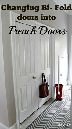 post shows you how to change Bi Fold doors into French Doors. This help get back that extra space you lose from bi folds. This post shows you how to change Bi Fold doors into French Doors. This help get back that extra space you lose from bi folds. Porte Diy, Folding Closet Doors, Bi Fold Doors, Diy Closet Doors, Pocket Doors, Laundry Room Doors, Laundry Area, Bathroom Laundry, Laundry Closet