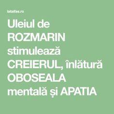 Uleiul de ROZMARIN stimulează CREIERUL, înlătură OBOSEALA mentală și APATIA Good To Know