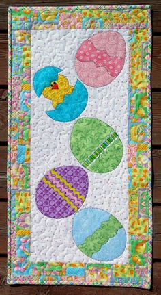 Handcrafted Quilted Appliqued Wall Hanging EASTER EGGS CHICKS RABBITS BASKET