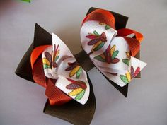SALE  Thanksgiving Hair Bow Double Boutique Fall by preciouscurls, .