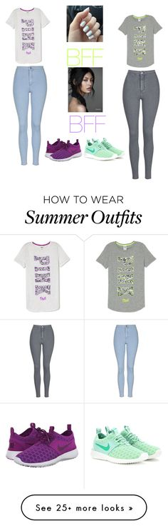 Bff outfit by makiyabaker on Polyvore featuring Topshop, NIKE, womens clothing, women, female, woman, misses and juniors