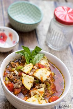 In need of a delicious, healthy soup?  This Turkey and Beef Minestrone is only 2 SmartPoints for 1 cup.