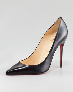 Christian Louboutin Decollete Calfskin Pointed-Toe Red Sole Pump - Neiman Marcus