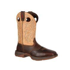 Rebel by Durango Mens Brown Leather Waterproof Steel Toe Cowboy Boots