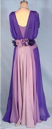 c. 1930's Purple Tricolor Chiffon Gown (back) with Original Slip and Silk Floral Decoration