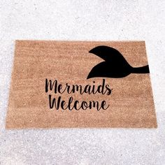 Mermaids Welcome Mat / Doormat Door Mat Gift Large by LoRustique Coastal Homes, Coastal Decor, Mermaid Room, Mermaid Bathroom, Mermaid Lagoon, Mermaid Mermaid, Bathroom Mat, Bathroom Ideas, Glamping