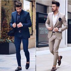 Left or right? men's fashion in 2019 estilos de moda Suits Outfits, Blazer Outfits Men, Mens Fashion Blazer, Suit Fashion, Outfits 2016, Casual Blazer, Fashion Outfits, Business Casual Attire For Men, Mens Casual Suits