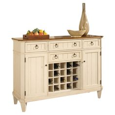 Pine And Birch Wood Sideboard In Antiqued Ivory With Four Drawers Two Cabinets Product Dining Room CabinetsDining BuffetDining